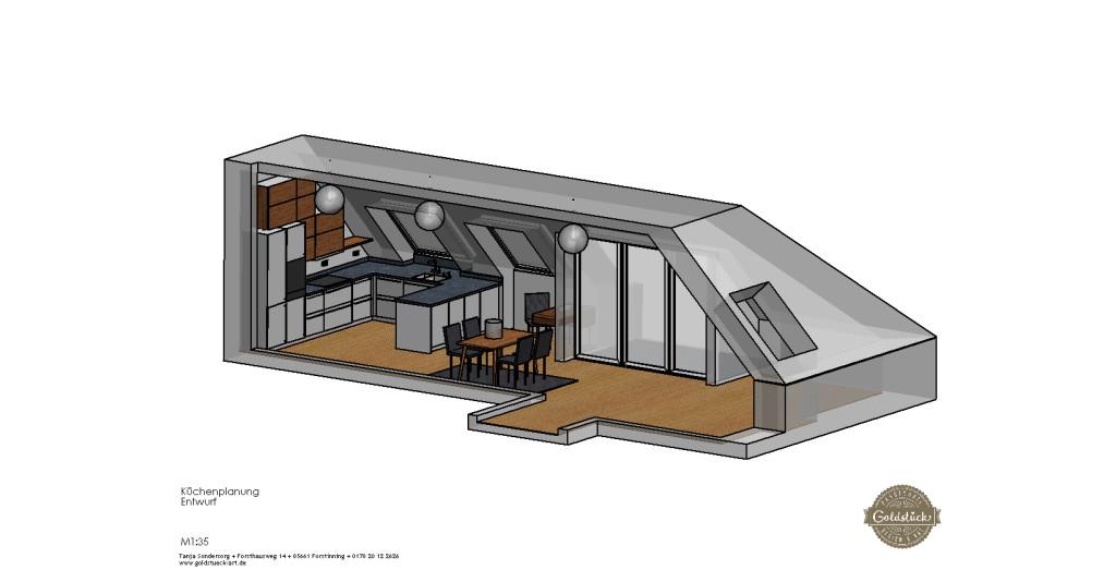 k che in m nchen schwabing in arbeit goldst ck design. Black Bedroom Furniture Sets. Home Design Ideas